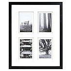 Real Simple® Black Wood Wall Frame with White Double Mats for 4 4-Inch x 6-Inch Photos
