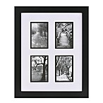 Real Simple® Black Wood Wall Frame with White Over Black Mat for 4 4-Inch x 6-Inch Photos