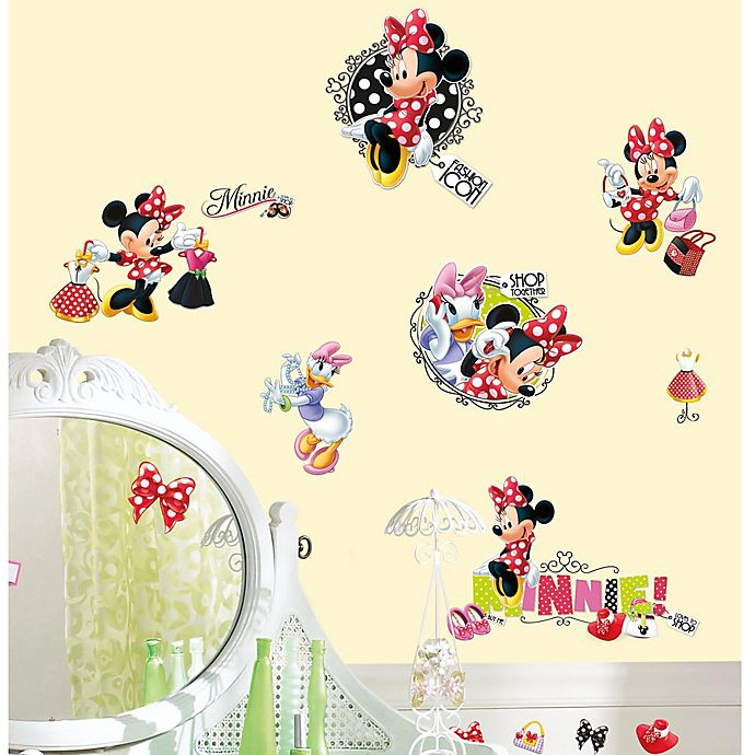 Alternate image 1 for Disney® Mickey and Friends Minnie Loves to Shop Peel and Stick Wall Decals