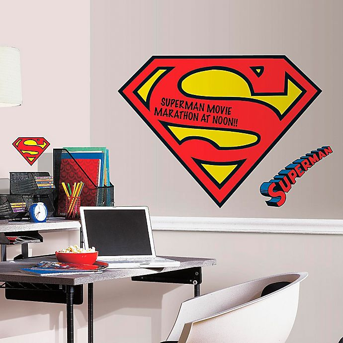 Alternate image 1 for DC Comics™ Superman Logo Dry Erase Giant Peel and Stick Wall Decals