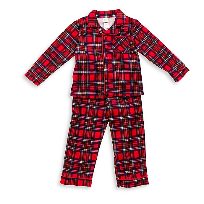 Alternate image 1 for Little Me® 2-Piece Plaid PJs in Red