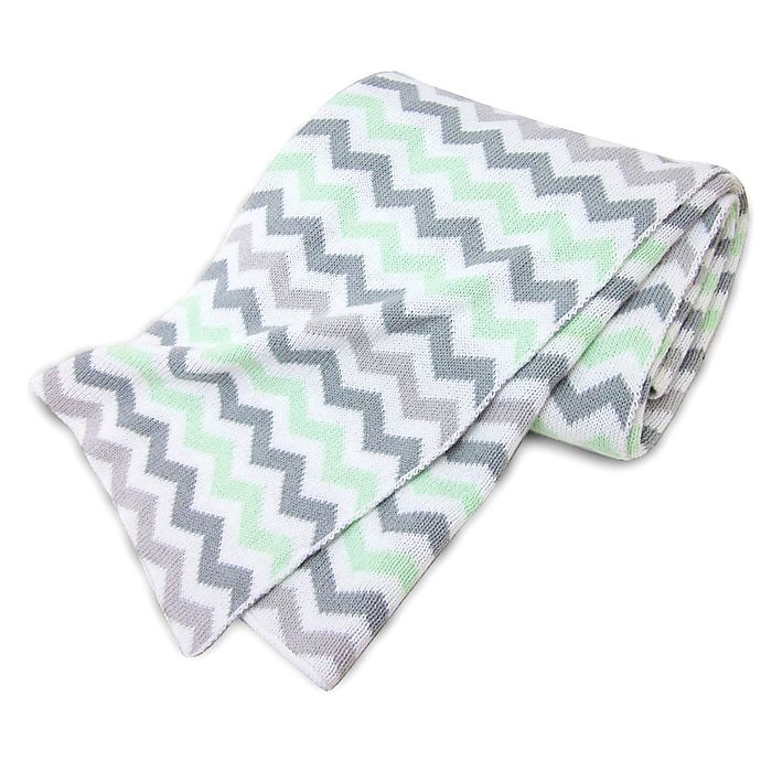 Alternate image 1 for TL Care® Knit Cotton Blanket in Celery/Grey Zigzag
