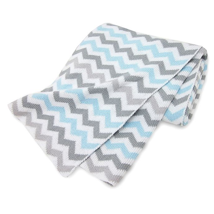 Alternate image 1 for TL Care® Knit Cotton Blanket in Blue/Grey Zigzag