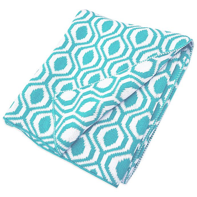 Alternate image 1 for TL Care® Knit Cotton Blanket in Aqua Ogee