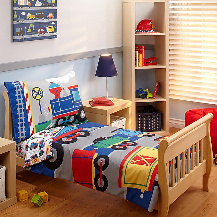 Alternate image 1 for Everything Kids by Nojo® Choo Choo 4-Piece Toddler Bedding Set