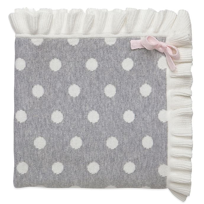 Soft And Elegant Gray And Pink Nursery: Elegant Baby® Dot Blanket With Ruffle In Grey
