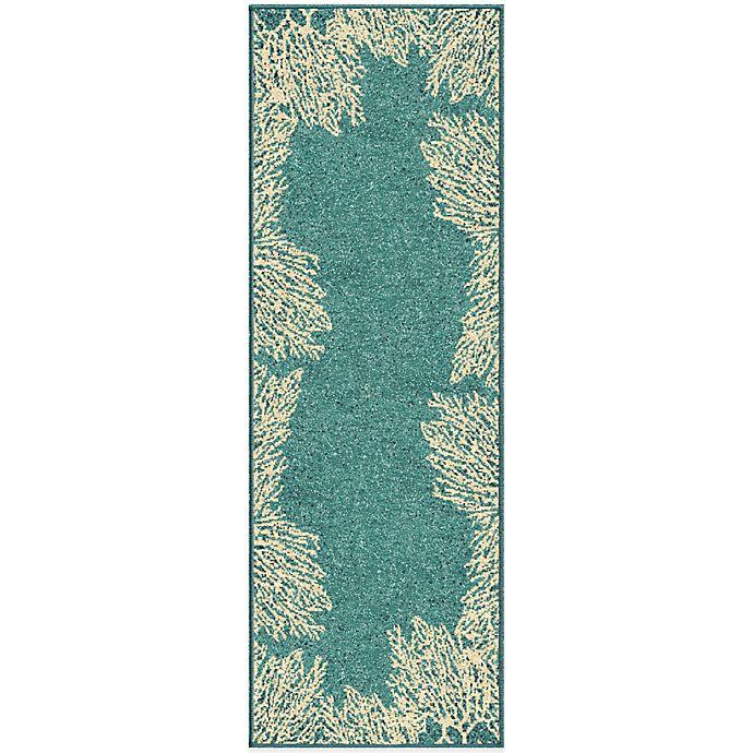 Alternate image 1 for Orian Rugs Courtyard Collection Coral Reef 1-Foot 11-Inch x 5-Foot 7-Inch Rug in Aqua