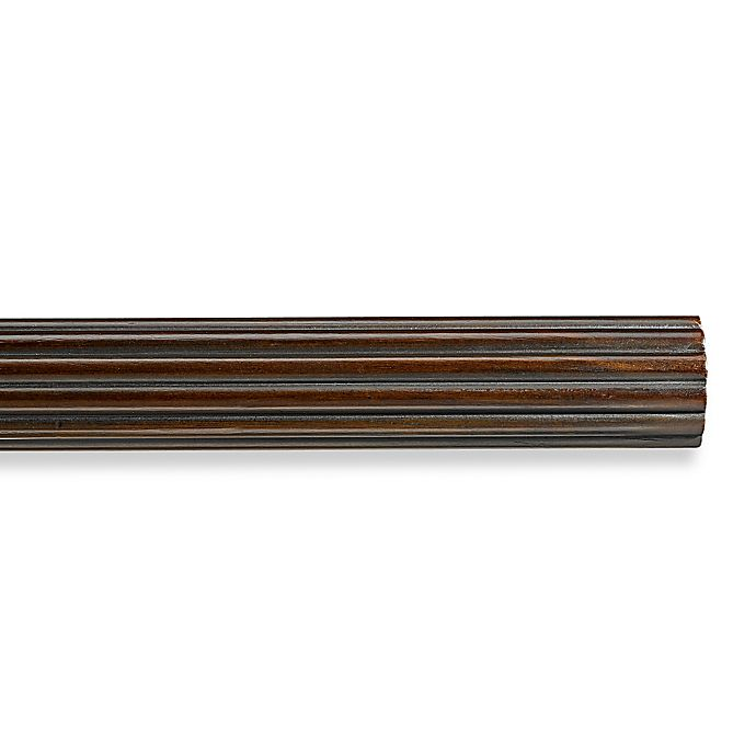 Alternate image 1 for Cambria® Premier Wood Decorative Fluted Drapery Pole in Chocolate