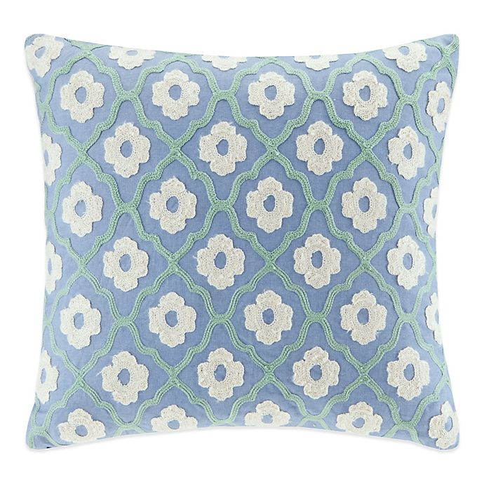 Alternate image 1 for Echo™  Kamala Square Throw Pillow in Blue/Ivory