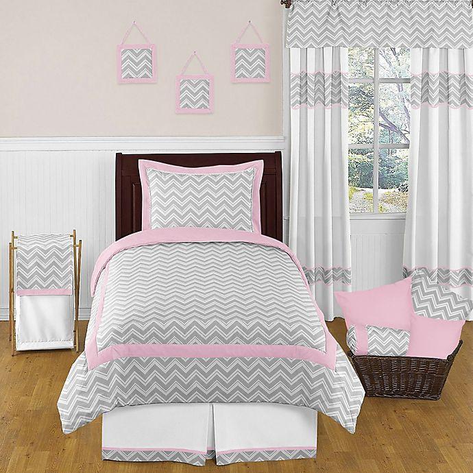 Alternate image 1 for Sweet Jojo Designs Zig Zag 4-Piece Twin Comforter Set in Pink/Grey