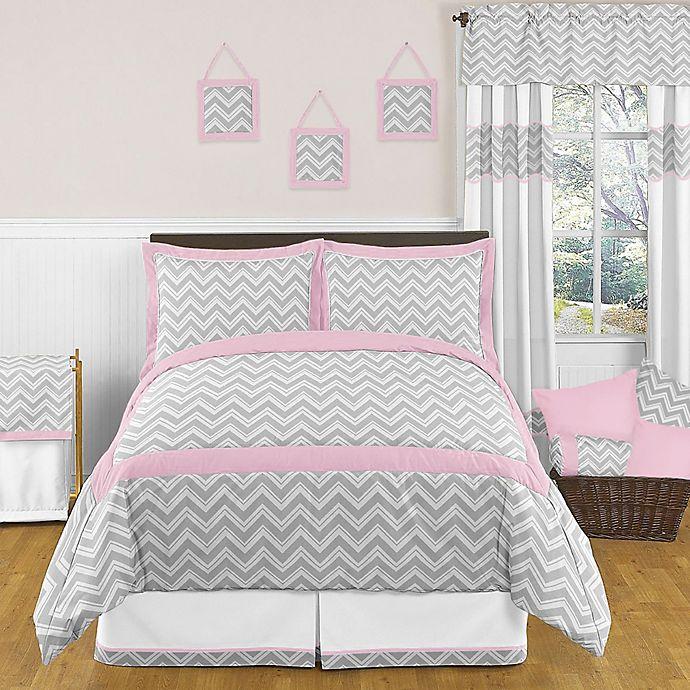 Alternate image 1 for Sweet Jojo Designs Zig Zag 3-Piece Full/Queen Comforter Set in Pink/Grey
