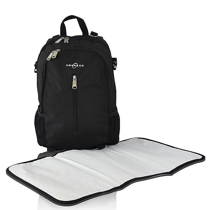 Alternate image 1 for Obersee Rio Diaper Bag Backpack in Black