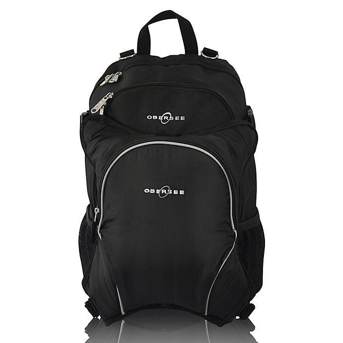 Alternate image 1 for Obersee Rio Diaper Bag Backpack with Detachable Cooler in Black