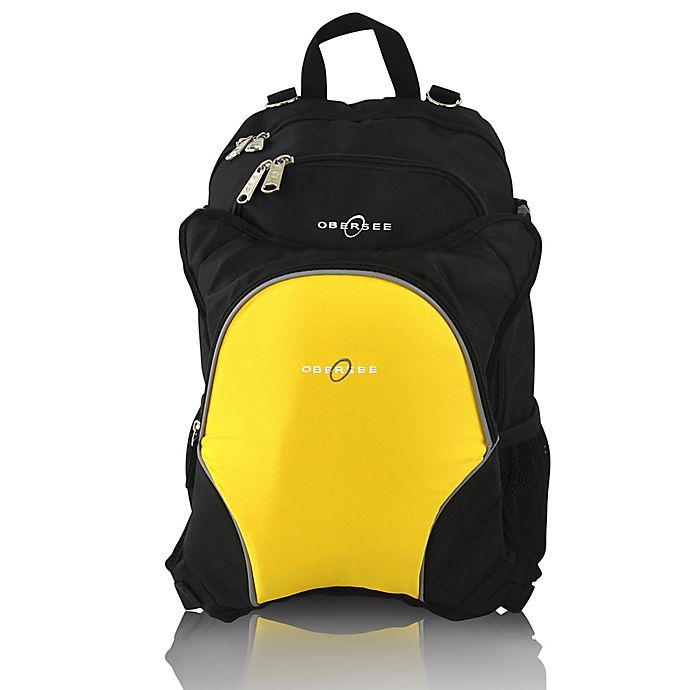 Alternate image 1 for Obersee Rio Diaper Bag Backpack with Detachable Cooler in Black/Yellow