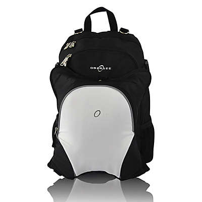 Obersee Rio Diaper Bag Backpack with Detachable Cooler in Black/White