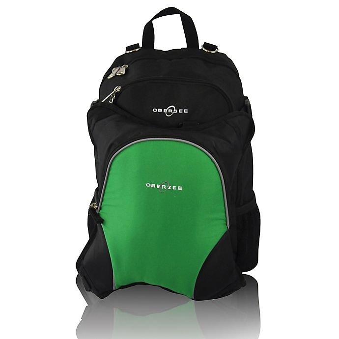 Alternate image 1 for Obersee Rio Diaper Bag Backpack with Detachable Cooler in Black/Green