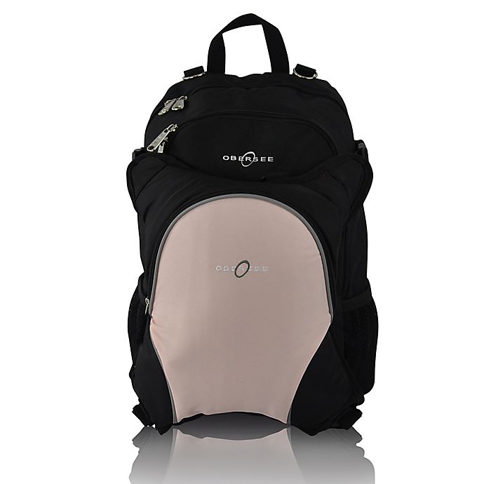Alternate image 1 for Obersee Rio Diaper Bag Backpack with Detachable Cooler in Black/Bubblegum