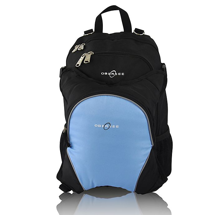 Alternate image 1 for Obersee Rio Diaper Bag Backpack with Detachable Cooler in Black/Cloud