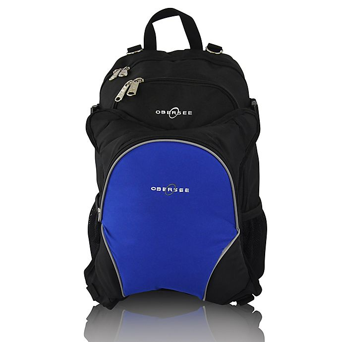 Alternate image 1 for Obersee Rio Diaper Bag Backpack with Detachable Cooler in Black/Royal Blue