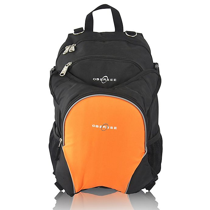 Alternate image 1 for Obersee Rio Diaper Bag Backpack with Detachable Cooler in Black/Orange