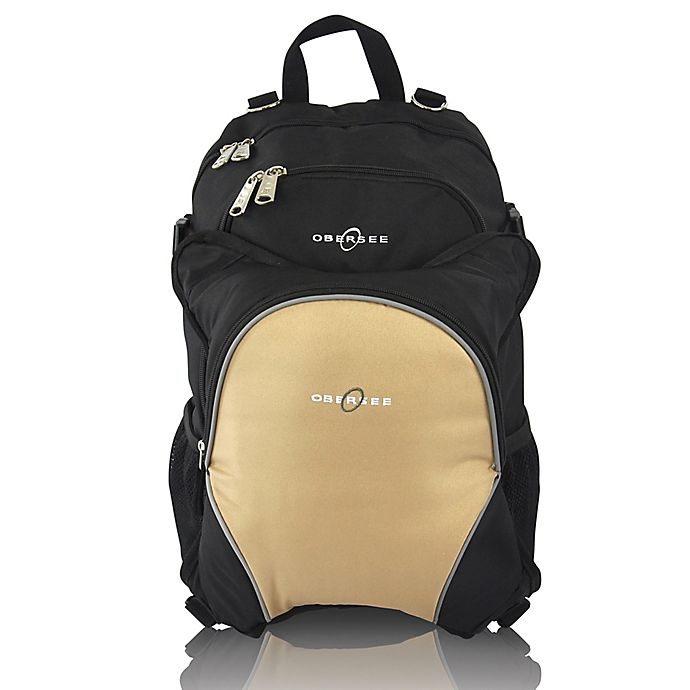 Alternate image 1 for Obersee Rio Diaper Bag Backpack with Detachable Cooler in Black/Sand