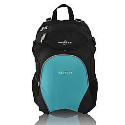 Obersee Rio Diaper Bag Backpack with Detachable Cooler in Black/Turquoise