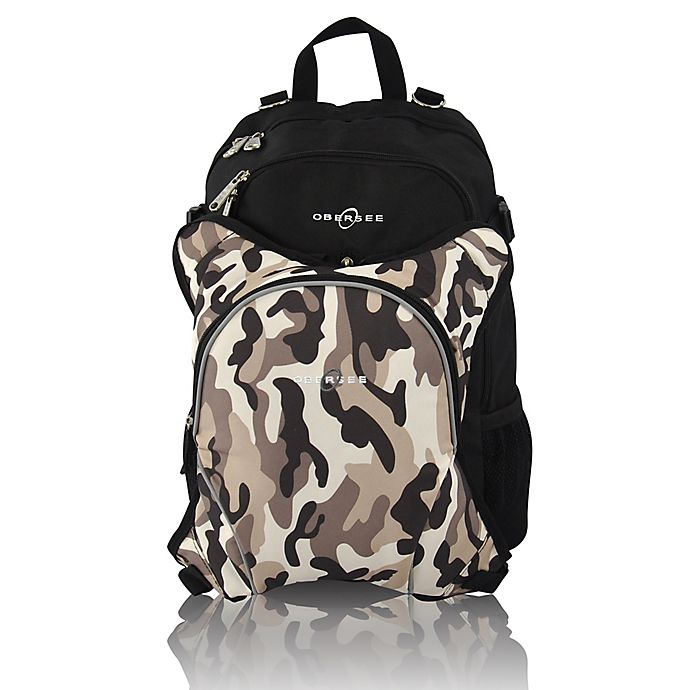 Alternate image 1 for Obersee Rio Diaper Bag Backpack with Detachable Cooler in Black/Camo