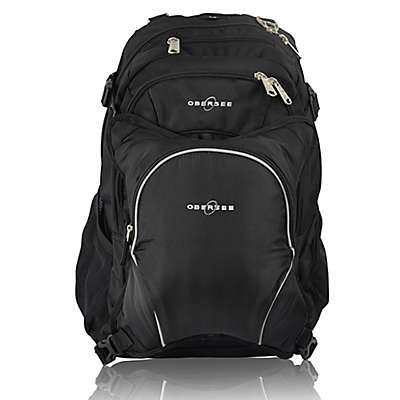 Obersee Bern Diaper Bag Backpack with Detachable Cooler in Black