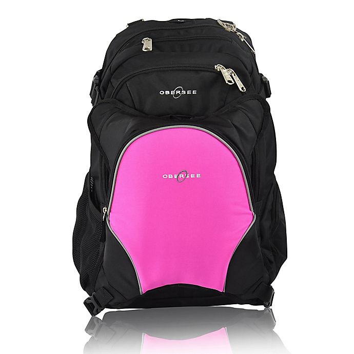 Alternate image 1 for Obersee Bern Diaper Bag Backpack with Detachable Cooler in Bright Pink