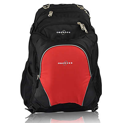 Obersee Bern Diaper Bag Backpack with Detachable Cooler in Red