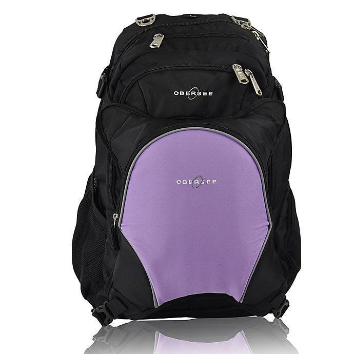 Alternate image 1 for Obersee Bern Diaper Bag Backpack with Detachable Cooler in Purple