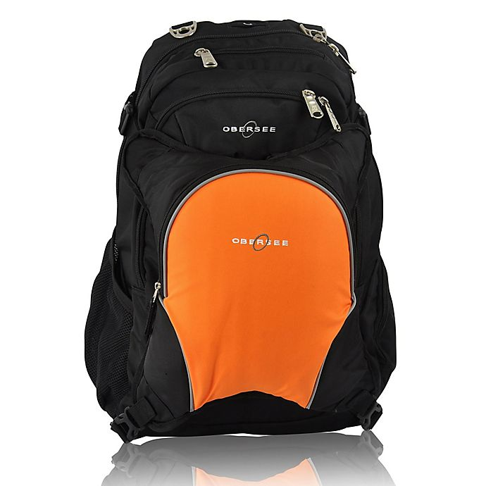 Alternate image 1 for Obersee Bern Diaper Bag Backpack with Detachable Cooler in Orange