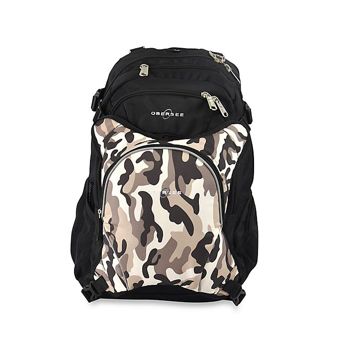 Alternate image 1 for Obersee Bern Diaper Bag Backpack with Detachable Cooler in Camo