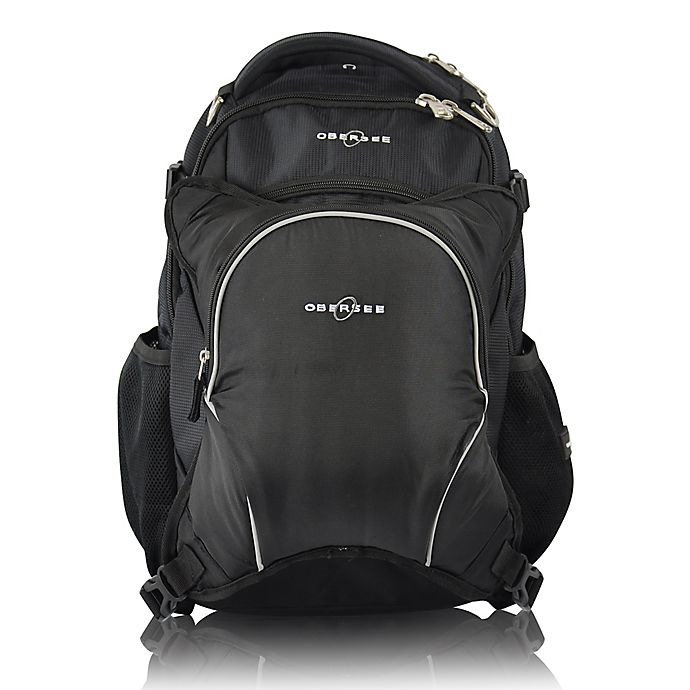 Alternate image 1 for Obersee Oslo Diaper Bag Backpack and with Detachable Cooler in Black