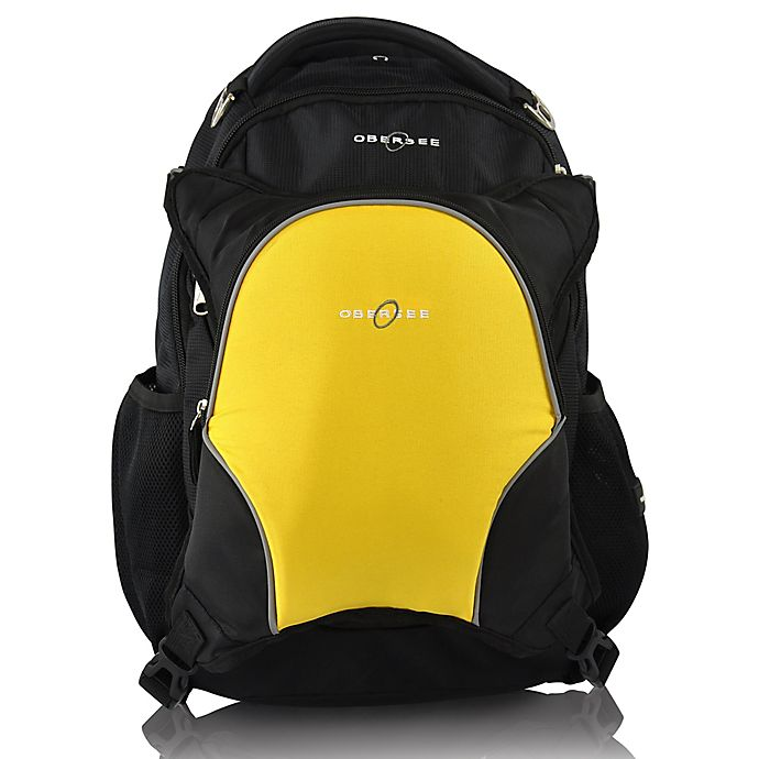Alternate image 1 for Obersee Olso Diaper Bag Backpack with Detachable Cooler in Black/Yellow