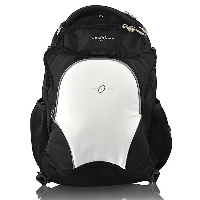 Alternate image 1 for Obersee Olso Diaper Bag Backpack with Detachable Cooler in Black/White
