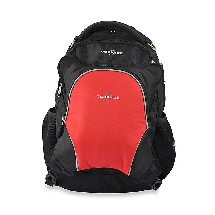 Alternate image 1 for Obersee Oslo Diaper Bag Backpack with Detachable Cooler in Black/Red