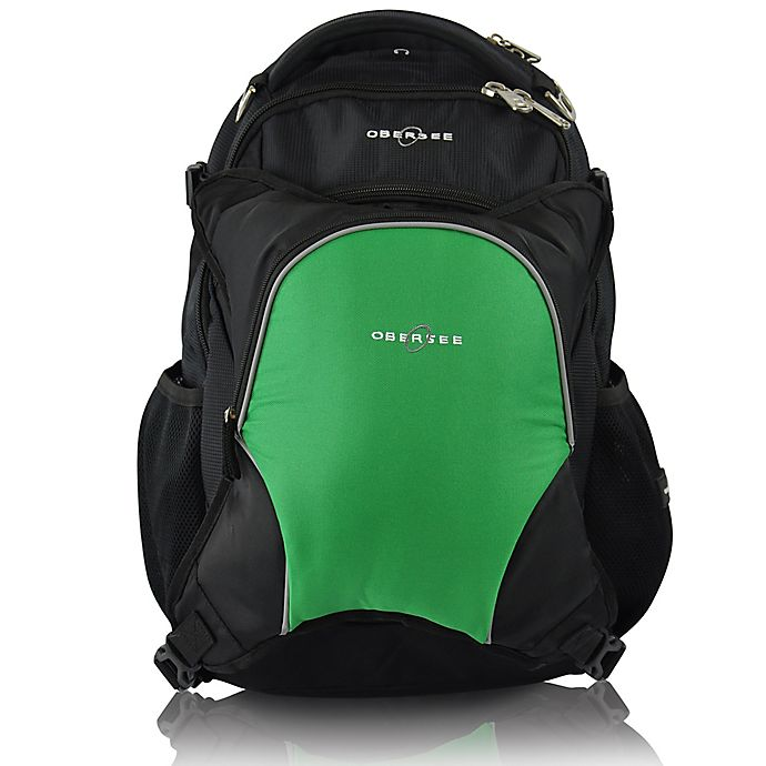 Alternate image 1 for Obersee Oslo Diaper Bag Backpack with Detachable Cooler in Black/Green