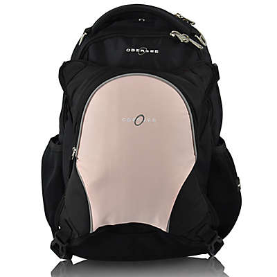Obersee Oslo Diaper Bag Backpack with Detachable Cooler in Black/Bubble Gum