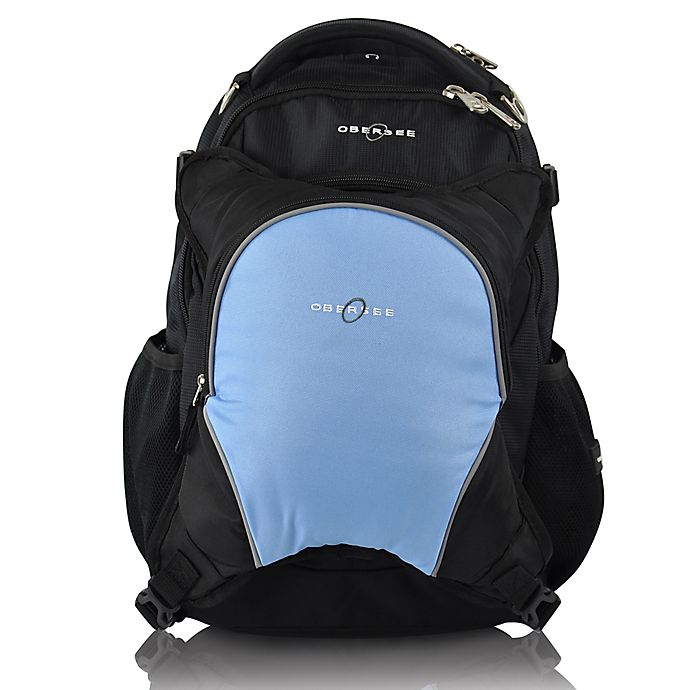 Alternate image 1 for Obersee Oslo Diaper Bag Backpack with Detachable Cooler in Black/Cloud