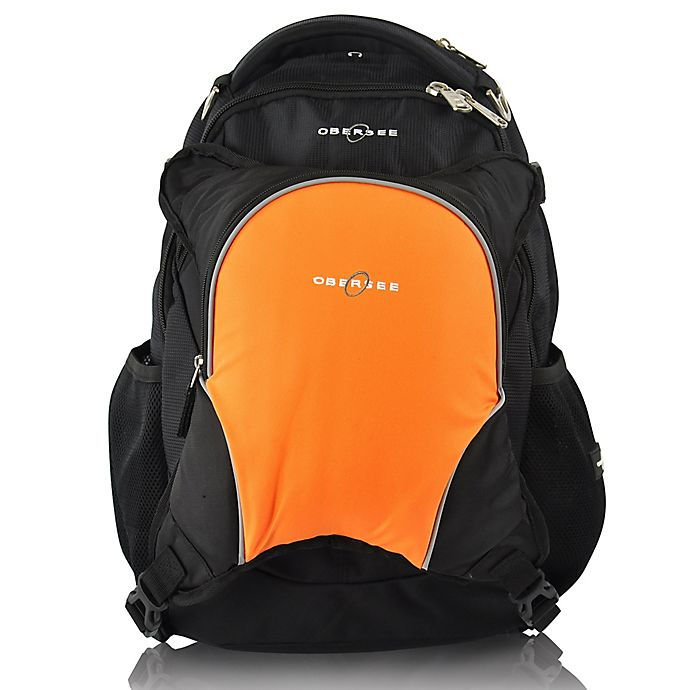 Alternate image 1 for Obersee Oslo Diaper Bag Backpack with Detachable Cooler in Black/Orange