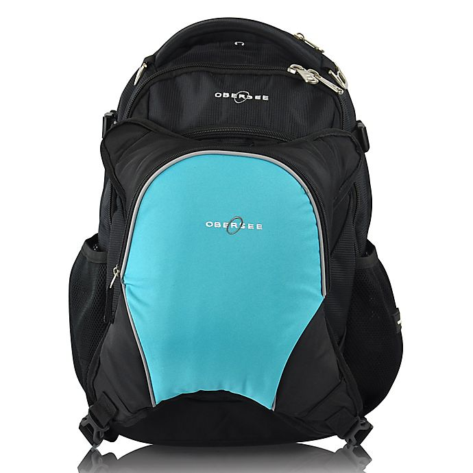 Alternate image 1 for Obersee Oslo Diaper Bag Backpack with Detachable Cooler in Black/Turquoise