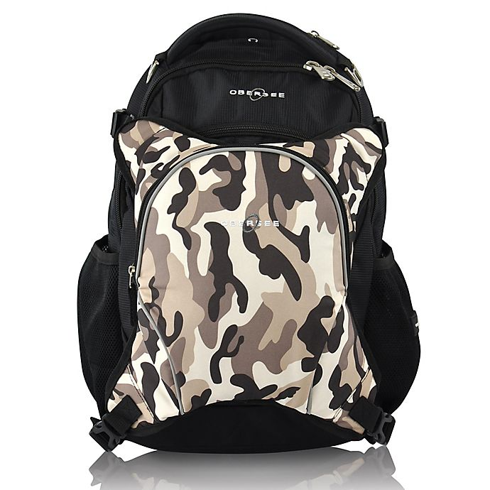 Alternate image 1 for Obersee Oslo Diaper Bag Backpack and Cooler in Cloud/Black in Camo