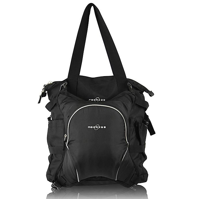Alternate image 1 for Obersee Innsbruck Diaper Bag Tote with Detachable Cooler in Black