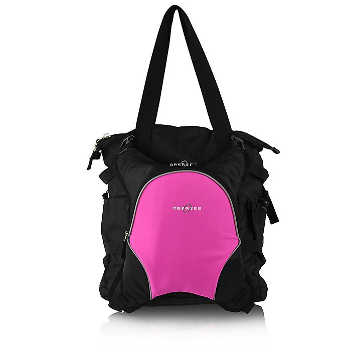 Alternate image 1 for Obersee Innsbruck Diaper Bag Tote with Detachable Cooler in Black/Pink
