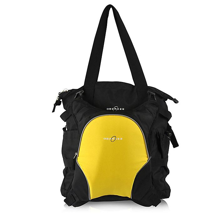Alternate image 1 for Obersee Innsbruck Diaper Bag Tote with Detachable Cooler in Black/Yellow