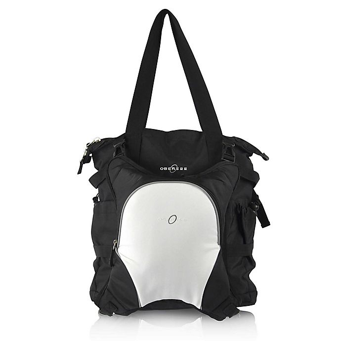 Alternate image 1 for Obersee Innsbruck Diaper Bag Tote with Detachable Cooler in Black/White