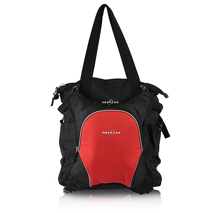 Alternate image 1 for Obersee Innsbruck Diaper Bag Tote with Detachable Cooler in Black/Red