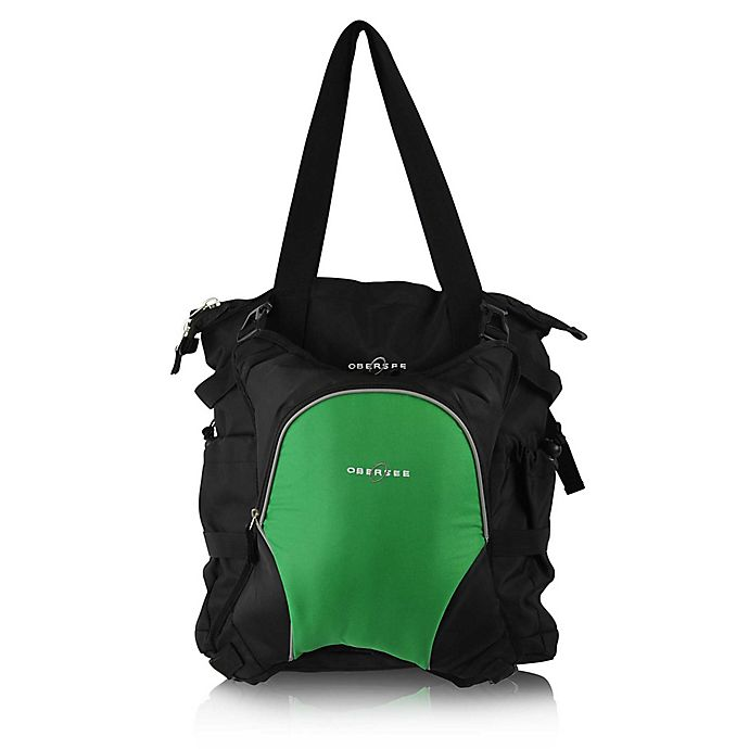 Alternate image 1 for Obersee Innsbruck Diaper Bag Tote with Detachable Cooler in Black/Green