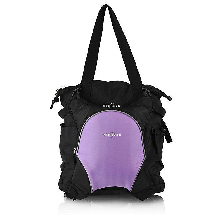 Alternate image 1 for Obersee Innsbruck Diaper Bag Tote with Detachable Cooler in Black/Purple